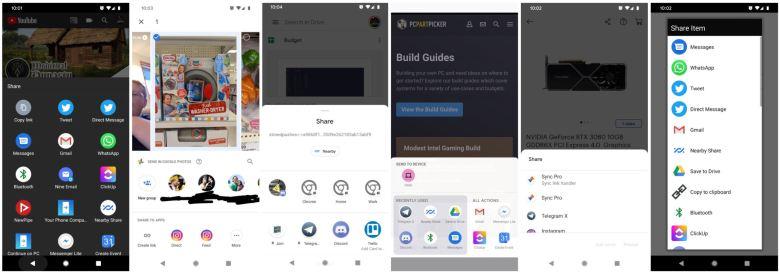 Teilenmenüs Von Android Apps