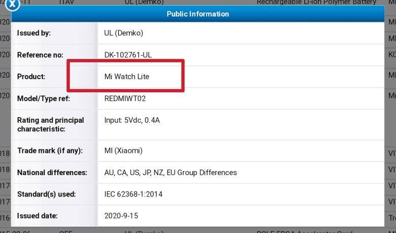 Xiaomi Mi Watch Lite Certification Leak
