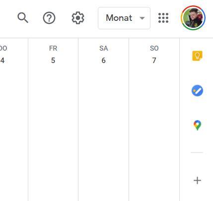 Google Kalender Seitenleiste