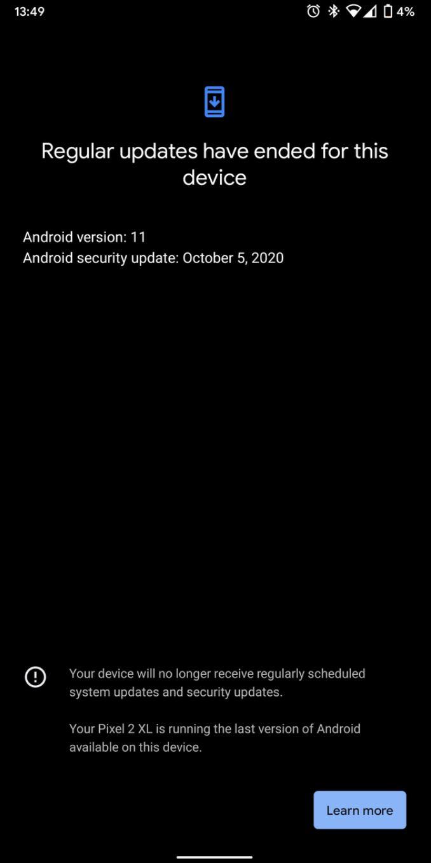 Pixel 2 Regular Updates Ende