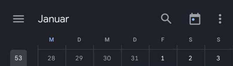 Google Kalender Suchtaste Android App