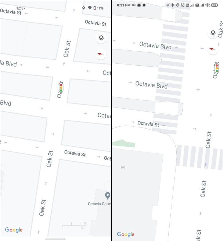 Google Maps Karten Details Update Vergleich