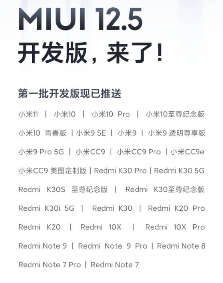Miui 12.5 Liste Beta