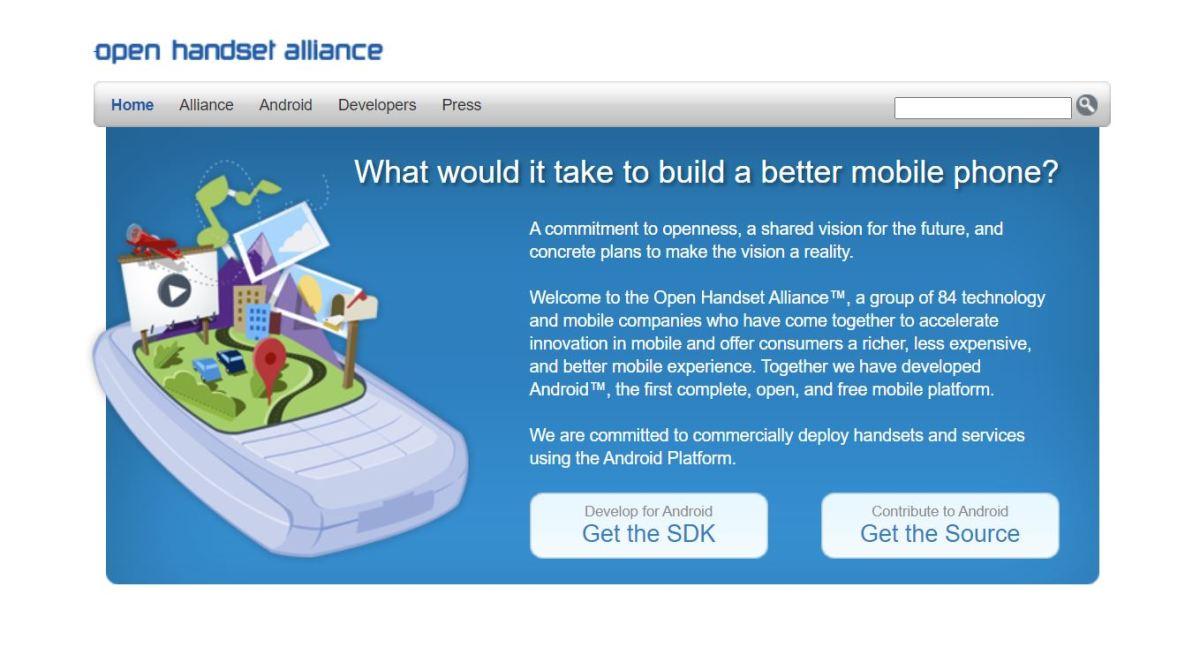 Open Handset Alliance Screenshot Homepage
