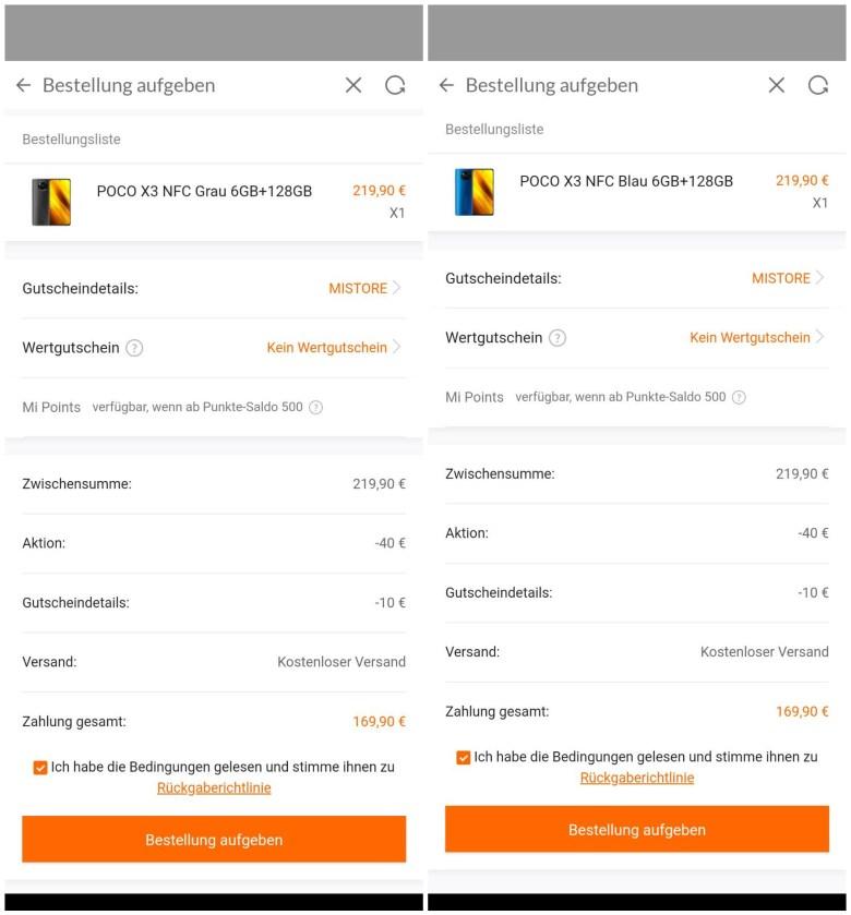 Poco X3 Angebot 170 Euro Mi Store Screenshot