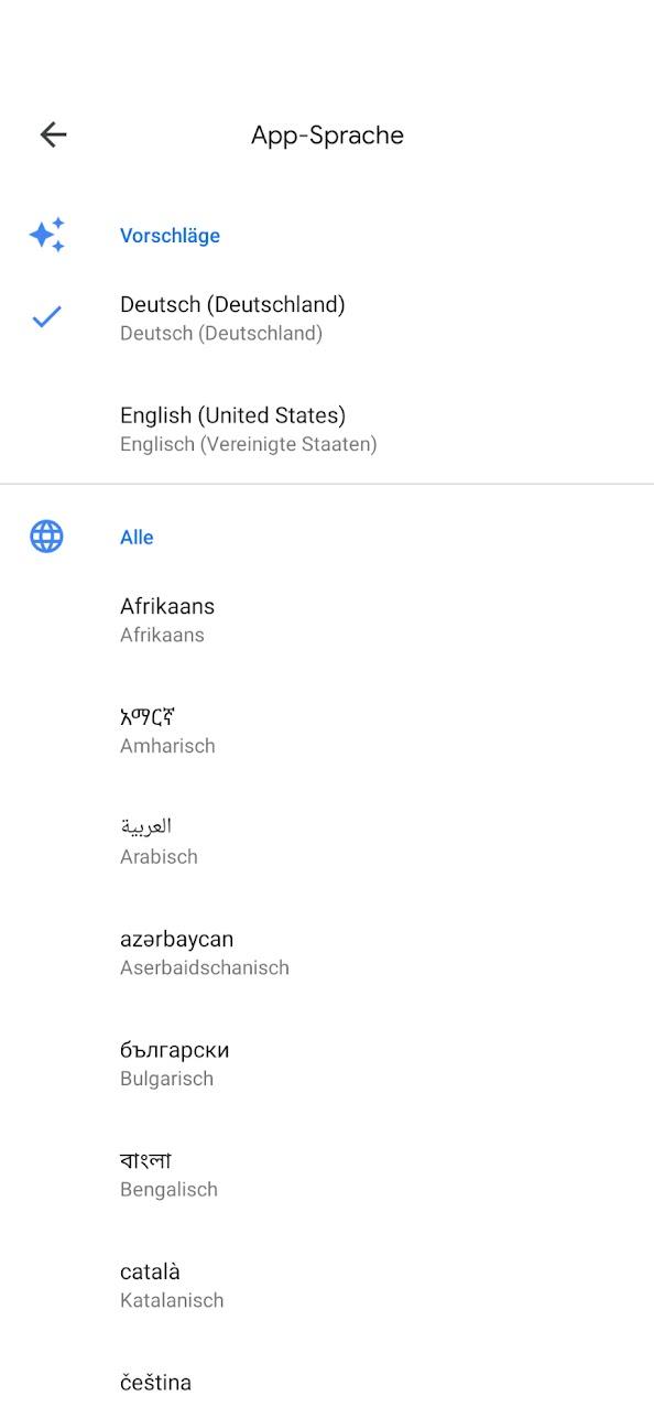 Sprachen Google Maps