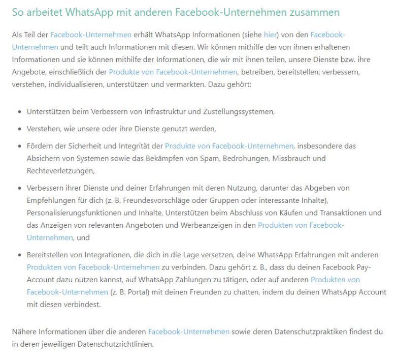 Whatsapp Facebook Datenschutzrichtlinie Jauar 2021
