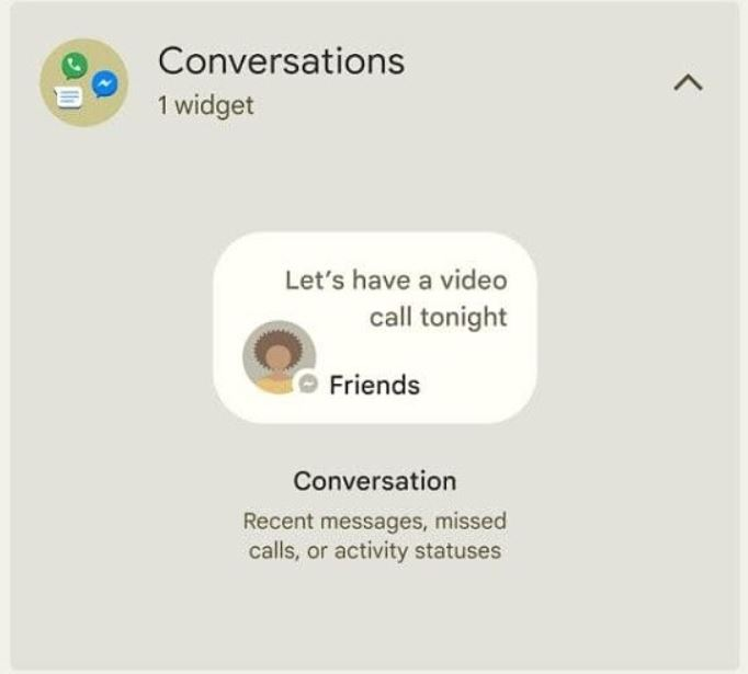 Conversations Widgets Android 12