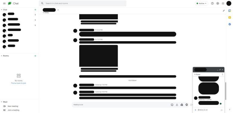 Google Chat Gmail Style Webversion