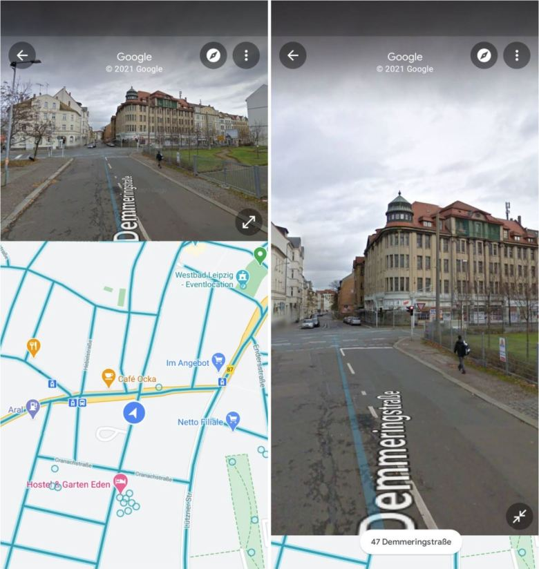 Google Maps Street View Splitscreen