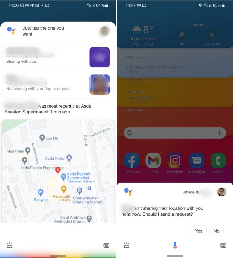 Google Assistant Standort Sahring Screenshots