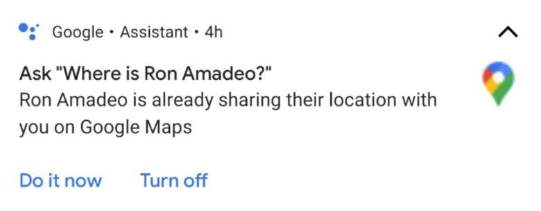 Recordatorio para compartir la ubicación de la ayuda de Google