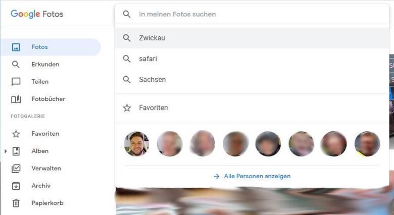 Google Fotos Web Favoriten
