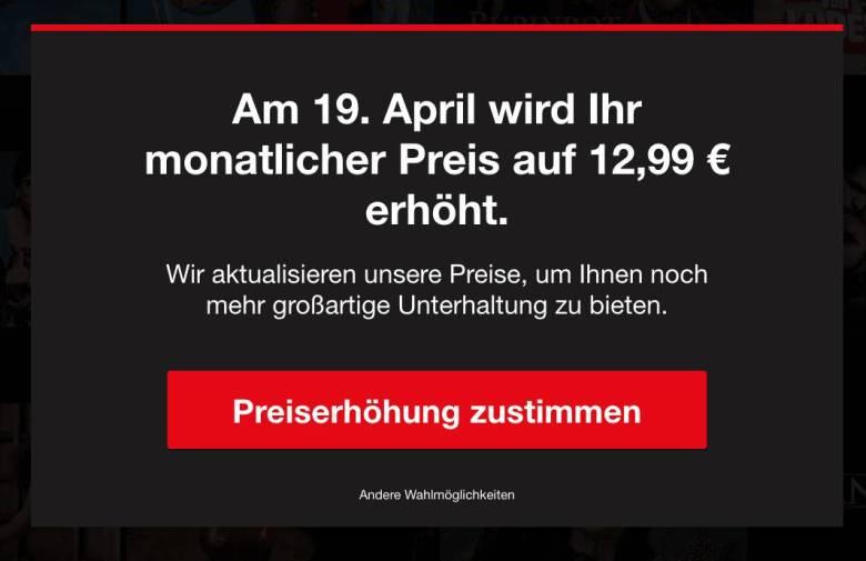 Netflix Bestandskunden Preiserhoehung 2021 Popup