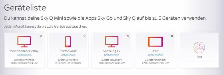 Sky Go Geräteliste