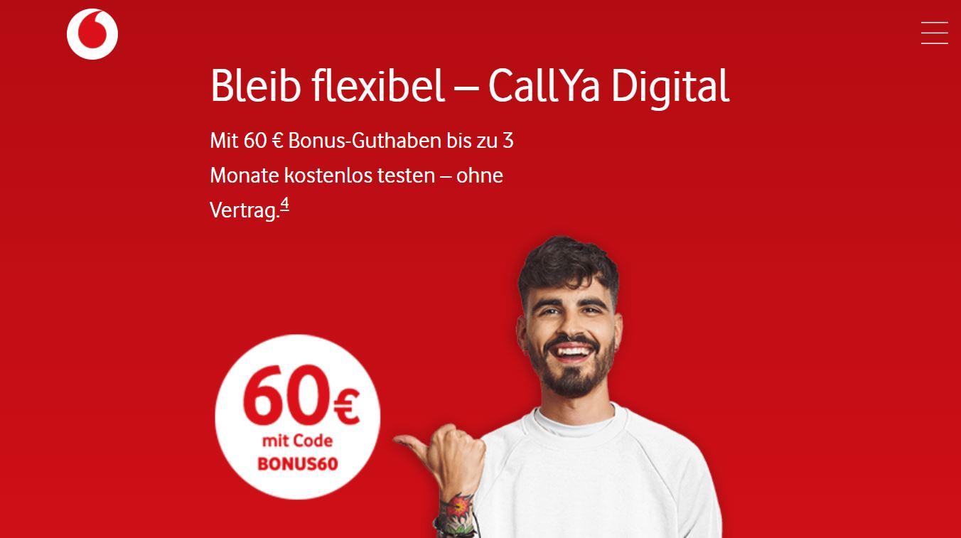 Prepaid-Knaller knapp 3 Monate kostenlos: Vodafone ballert CallYa Digital (10 GB) mit 60 Euro Guthaben raus!