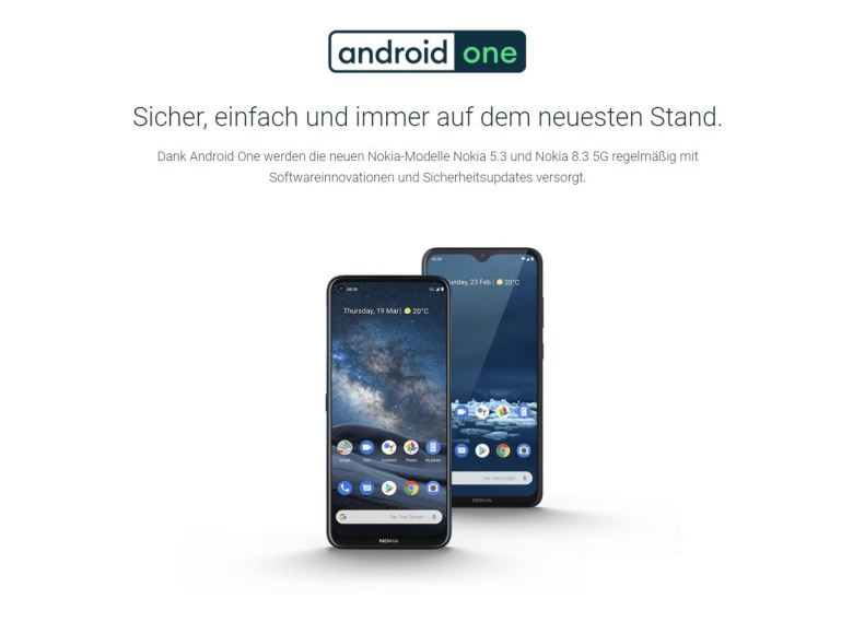 Android One Webseite Screenshot April 2021