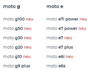 Moto G10 Bis G100 Und E Reihe