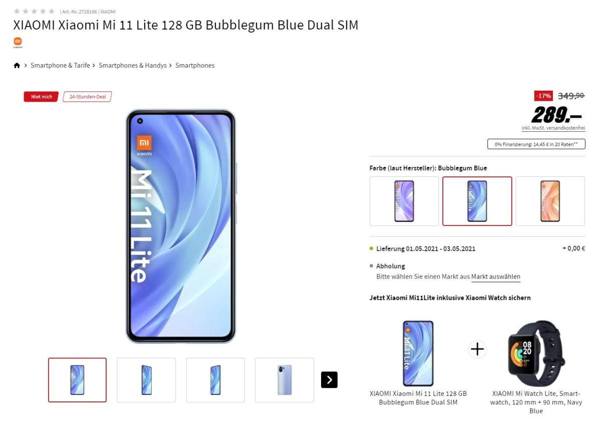 Xiaomi Mi 11 Lite Mi Watch 289 Euro