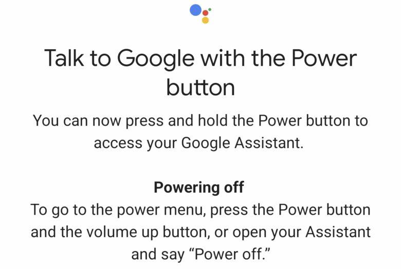 Google Assistant Einschalttaste Geste