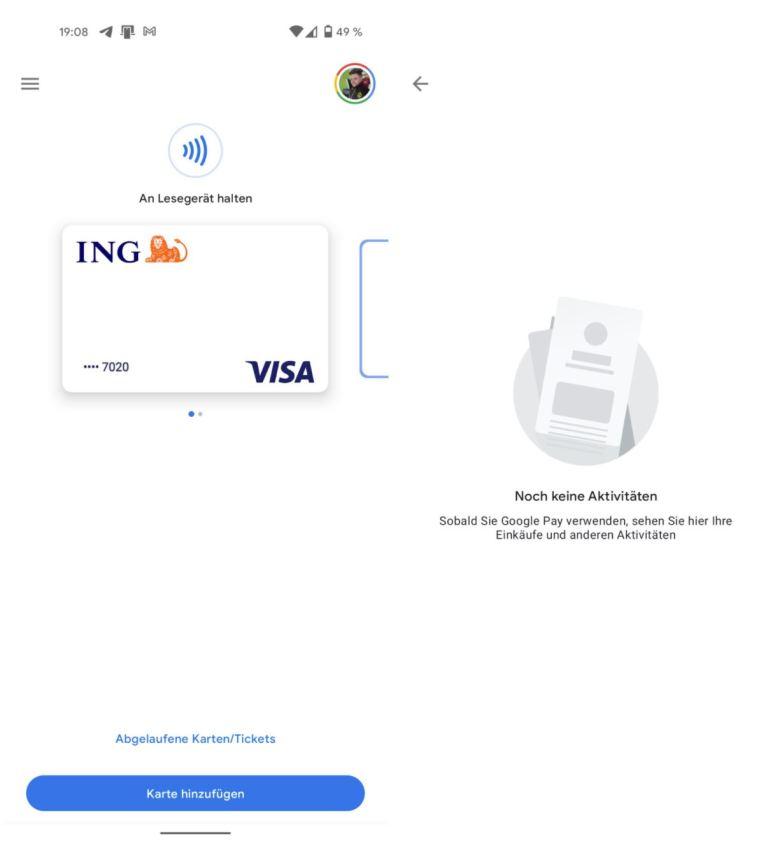 Google Pay Keine Aktivitäten Screenshots