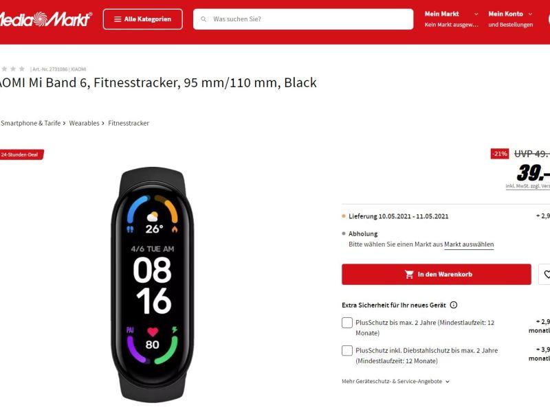 Xiaomi Mi Band 6 Mediamarkt 39 Euro