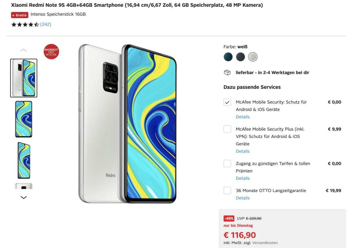 Redmi Note 9s Otto Angebot