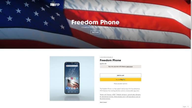 Freedom Phone Screenshot Webseite