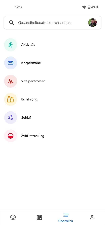 Google Fit Ueberblick