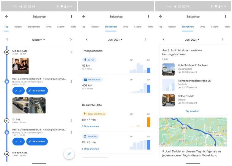 Google Maps Zeitachse Update Juli 2021