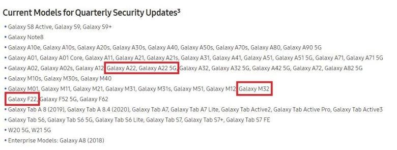 Samsung Galaxy A22 5g M32 F22 Software Update Schedule