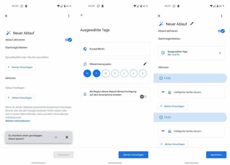 Ganztaegiger Ablauf Google Assistant