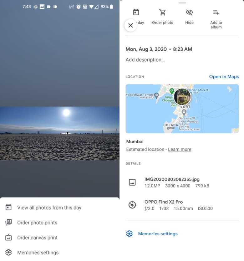 Google Fotos Erinnerungen Menue