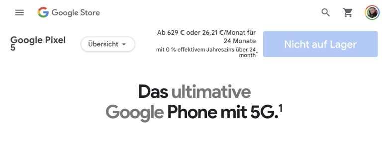 Pixel 5 Ausverkauft Store