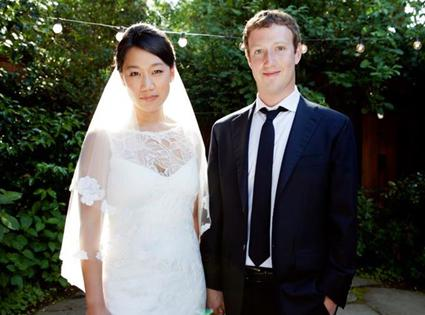 Priscilla Chan and Mark Zuckerberg on their wedding