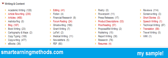 select categories in freelancing