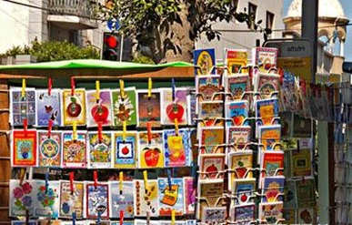 stall selling greating cards
