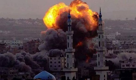 Blowing mosques in gaza