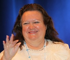 Gina Rinehart speaking at the Commonwealth Business Forum at the Burswood. Pic by Mogens Johansen, The West Australian. Fairfax a,nd Financial Review OUT. 261011