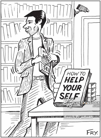 Bookshop thief helping himself to 'How To Help Your Self' book.