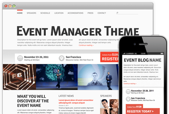 event manager theme'
