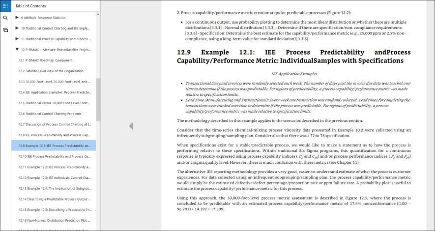 process capability analysis Example 12.1