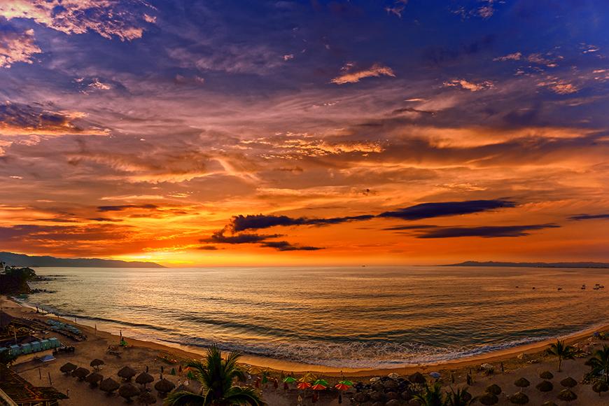 puerto vallarta beach at sunset.