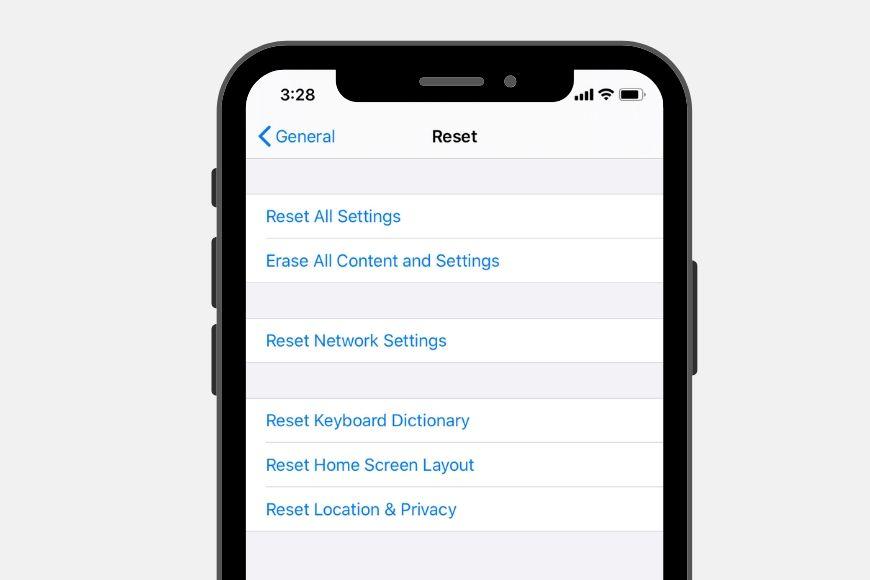 reset data on iphone