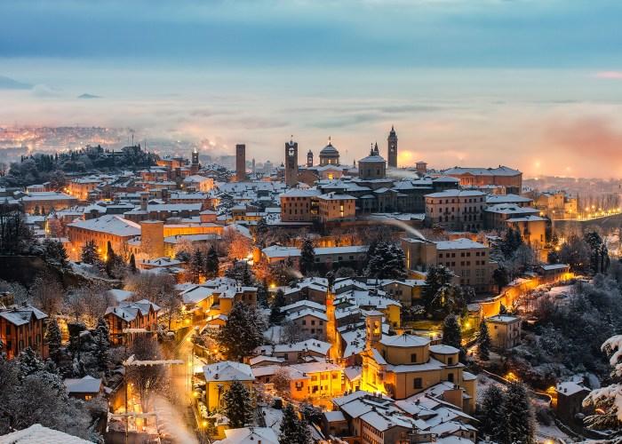 italian village in winter snow