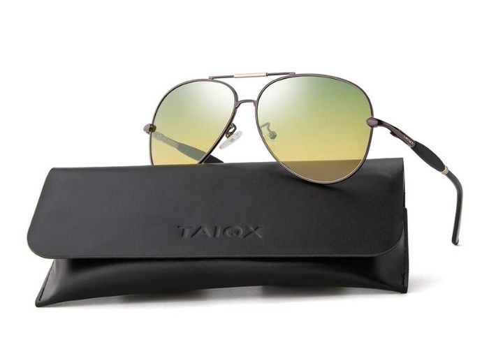aviator sunglasses on top of black case