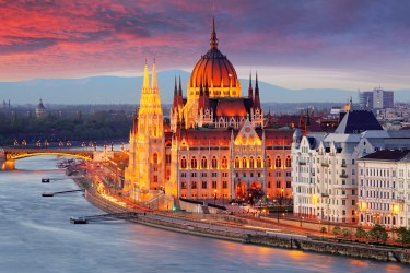Hungarian Parliament Building at Sunset Budapet.