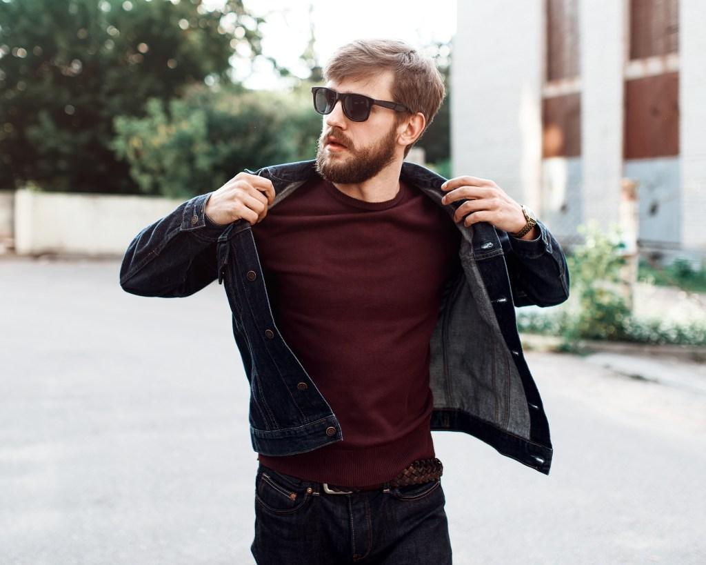 man wearing dark denim