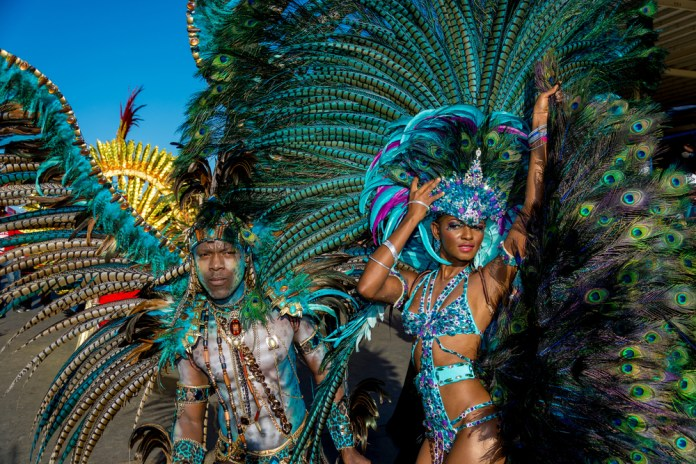 couple dressed up in parade for carnival