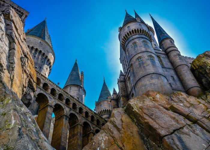 hogwarts castle against blue sky